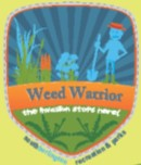 weed warrior logo shows a person pulling up invasive plants with the shape of a shield behind them